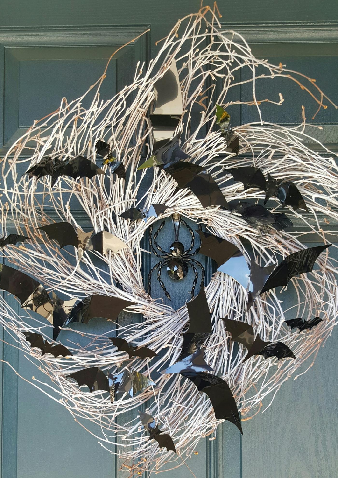 Diy Bat Wreath, Halloween Wreath, Diy Halloween Wreath,